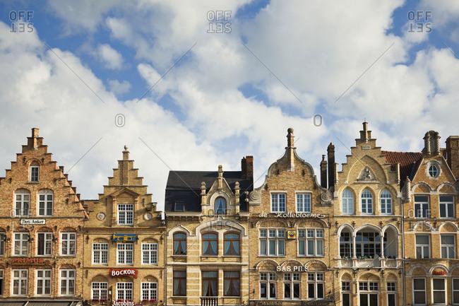 Ypres, West Flanders, Belgium, EuropeFebruary 8, 2019: Flemish Architecture in Ypres, Belgium