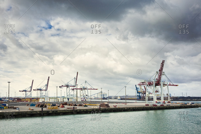 Dunkirk, Nord, France, EuropeFebruary 8, 2019: Cranes on commercial dock