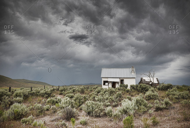 Abandoned Buildings Under a Dark Sky
