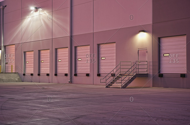 Closed doors of warehouse loading dock