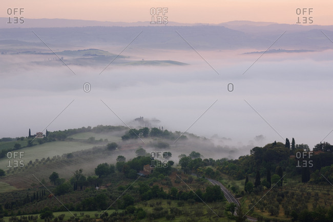 Valley Fog in the Val D'Orcia at Dawn