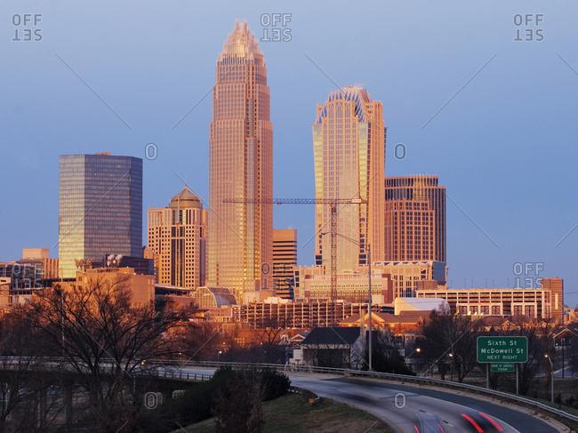 Charlotte, North Carolina, USAFebruary 8, 2019: Charlotte Skyline at Sunrise