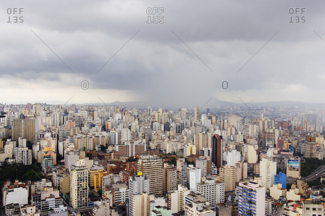 Sao Paulo, BrazilFebruary 8, 2019: Rain Shower Approaching Downtown Sao Paulo
