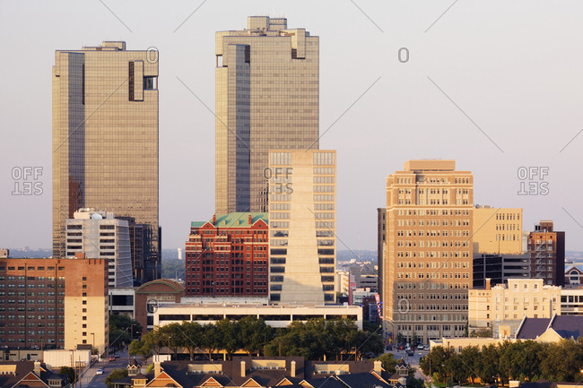 Fort Worth, Texas, USAFebruary 8, 2019: Tall Buildings in Fort Worth at Dusk