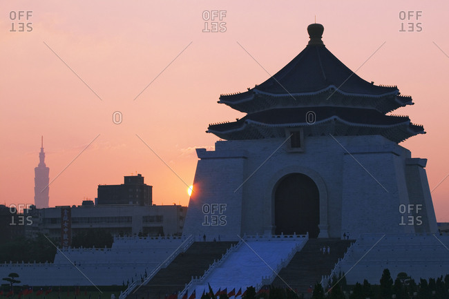 Taipei, TaiwanFebruary 8, 2019: Chiang Kai-shek Memorial Hall at Sunrise