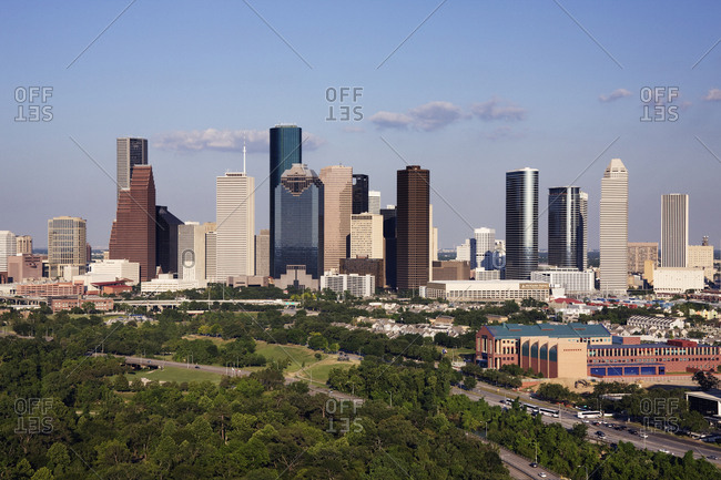 Houston, Texas, USAFebruary 8, 2019: Downtown Houston Office Buildings