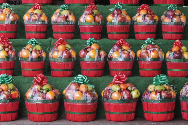 Christmas Fruit Baskets on Shelves