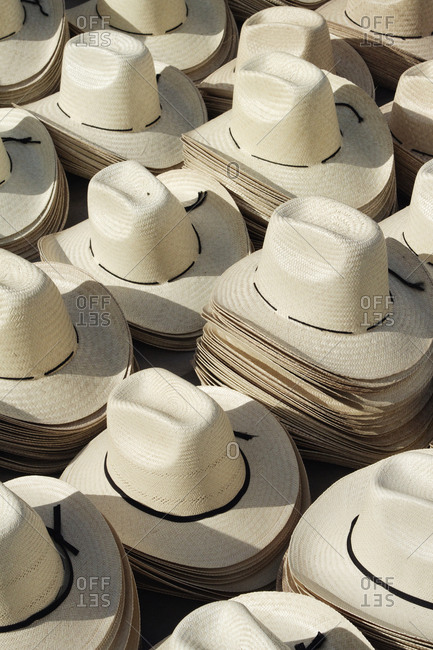 Stacks of Straw Hats