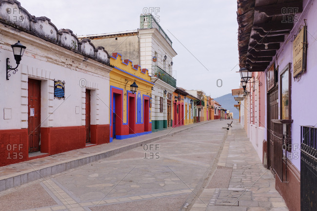 Chiapas, MexicoFebruary 6, 2019: Colorful Buildings on Street