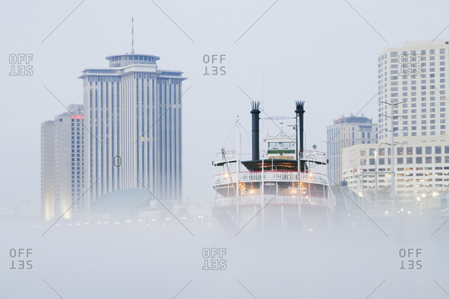 New Orleans, Louisiana, USAFebruary 6, 2019: Riverboat in the Fog at Day
