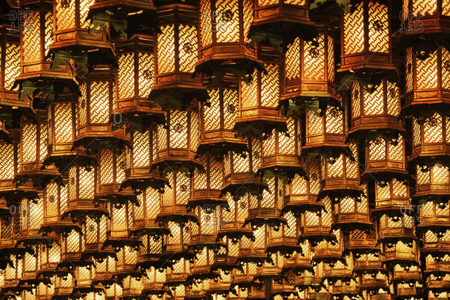 Illuminated hanging lanterns, Honshu island, Japan, Asia