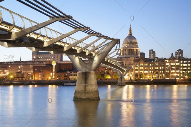 Millennium Bridge and St Paul's at Sunset