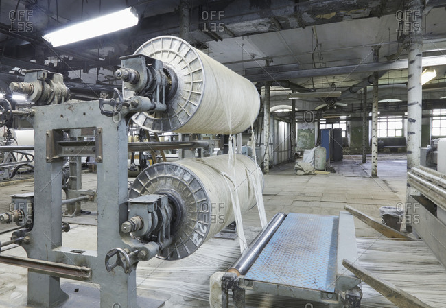 Industrial loom in textile factory