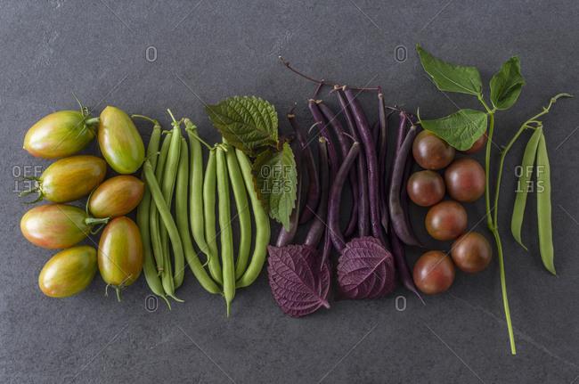 Garden fresh herbs and vegetables on slate.