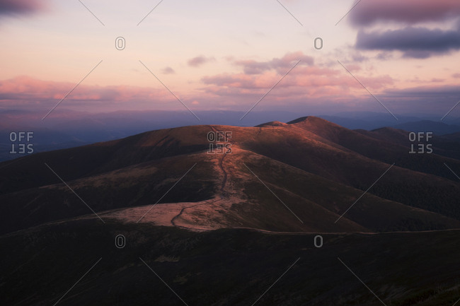 Scenic view of Carpathian Mountains against sky during sunset