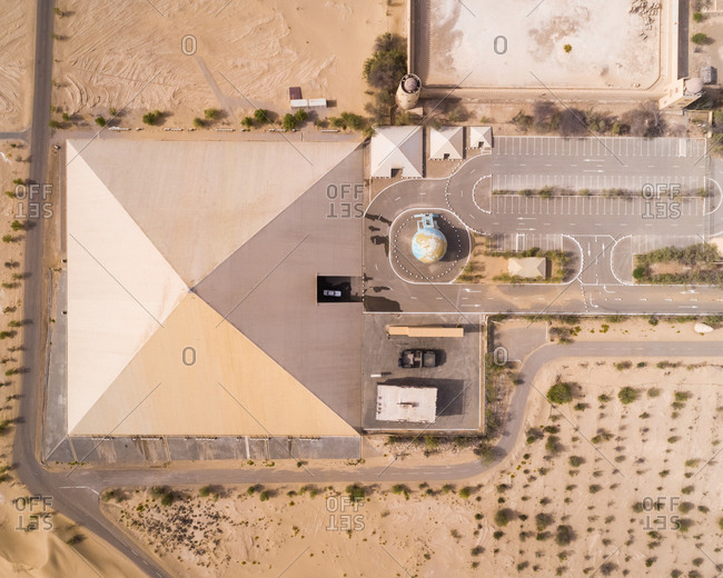 May 11, 2018: Aerial view above of military museum on desert landscape, Abu Dhabi, U.A.E
