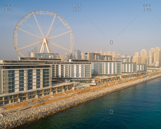 Aerial view of the Ferris wheel under construction on Bluewaters island in Dubai.