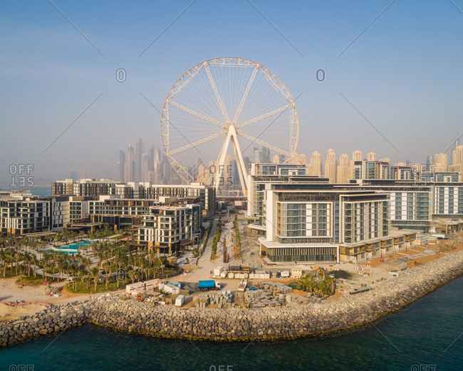 July 3, 2018: Aerial view of the Ferris wheel under construction on Bluewaters island in Dubai.