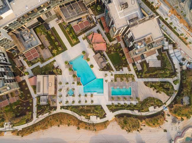 Aerial view above residential neighborhood at bluewater island, Dubai, U.A.E.