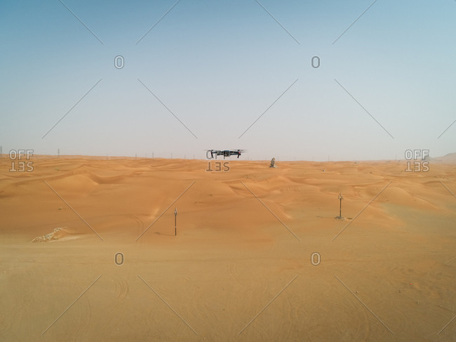 Aerial view of drone flying on the middle of desert, U.A.E.