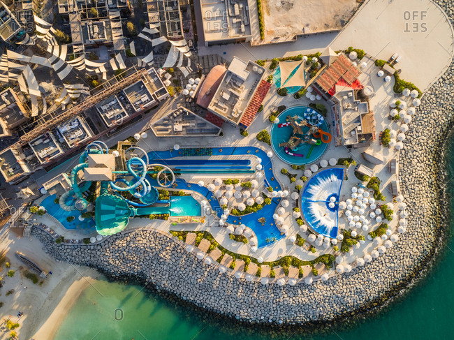September 26, 2018: Aerial view above of luxury waterpark near the beach, U.A.E.