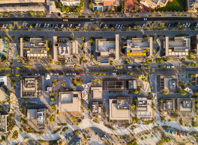 Aerial view of luxury commercial buildings near the beach, U.A.E.