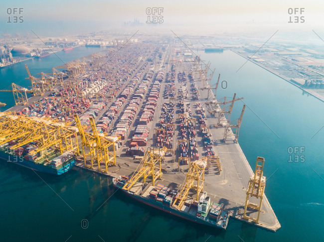 Aerial view of gigantic cargo port full of containers, Dubai, U.A.E.