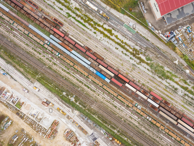 Aerial view above of rail train system creating abstract image.