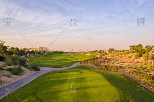 Aerial view of golf club on a luxury residential area, Dubai, U.A.E.
