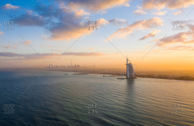 December 12, 2018: Aerial view of the persian gulf with Dubai skyscrapers in background.