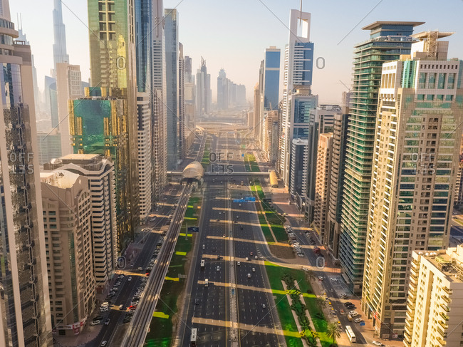 December 7, 2018: Aerial view of multi-lanes highway crossing the city, Dubai, U.A.E