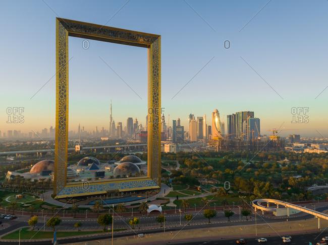 December 13, 2018: Aerial view of Dubai frame landmark during the sunset, Dubai, U.A.E