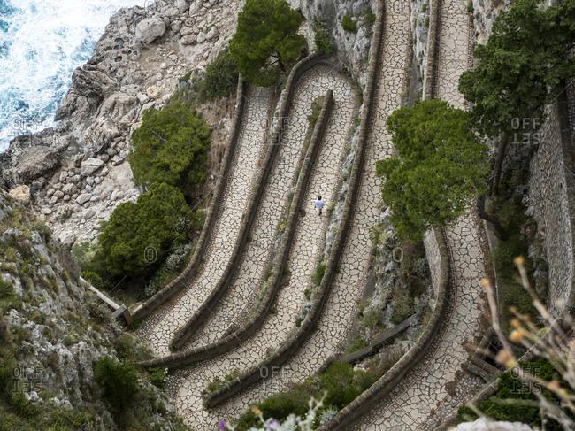 Italy- Campania- Capri- Via Krupp- Giardini di Augusto from above