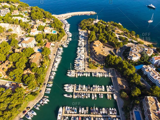 Spain- Baleares- Mallorca- Calvia region- Aerial view of Santa Ponca- Marina