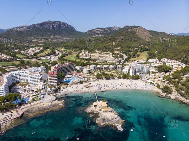 Spain- Baleares- Mallorce- Calvia region- Costa de la Calma- Aerial view of Camp de Mar