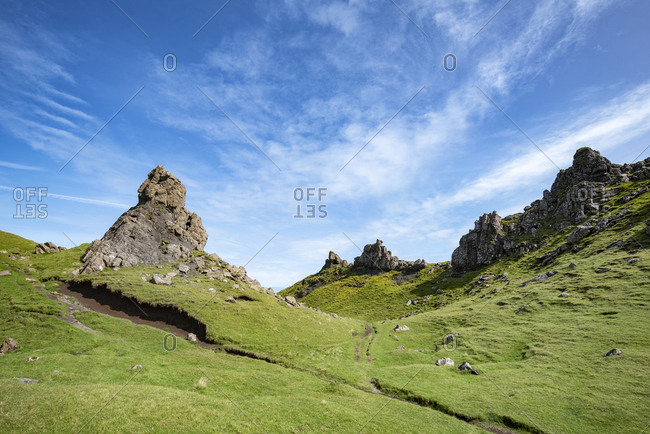UK- Scotland- Inner Hebrides- Isle of Skye- Trotternish- rock formation at The Storr