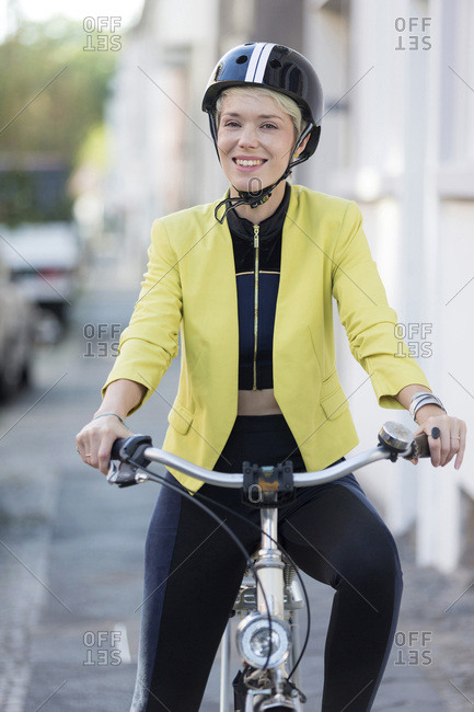 Woman with cycling helmet