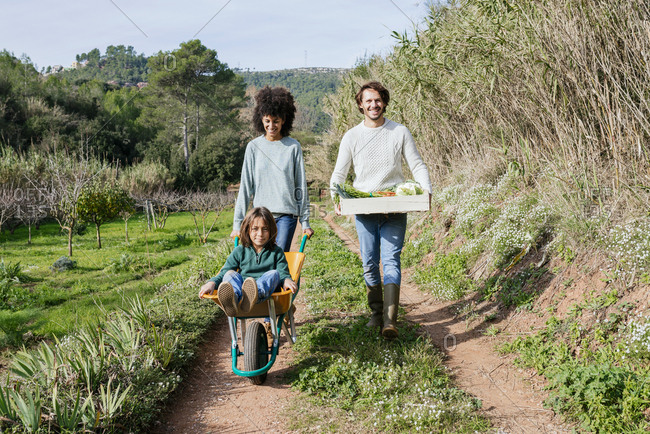 Family walking on a dirt track- pushing wheelbarrow- carrying crate with vegetables