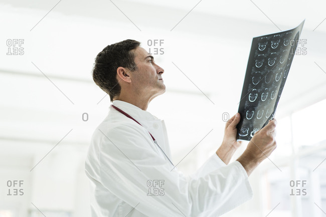 Doctor examining MRT image in medical practice