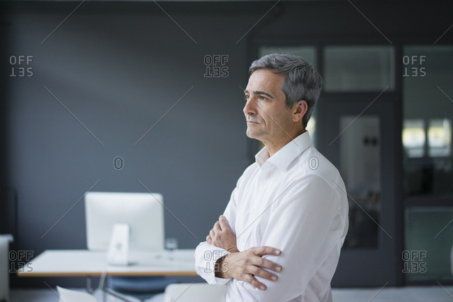 Businessman in the office thinking