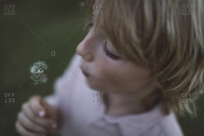 Boy blowing blowball