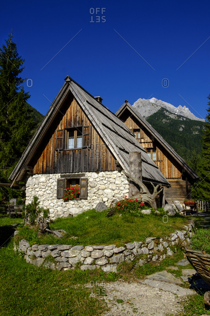 Slovenia- Soca Valley- near Trenta- alpine hut in Triglav National Park