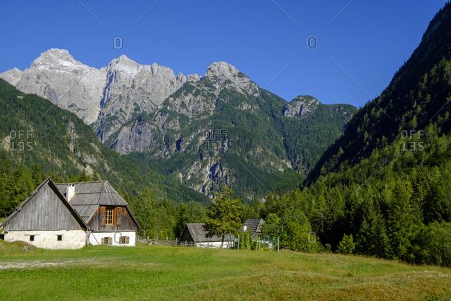 Slovenia- Soca Valley- near Trenta- Triglav National Park- mountain pasture and huts