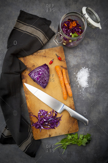 Preparation of homemade red cabbage- fermented- with chili- carrot and coriander