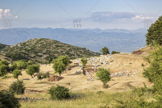 Greece- Peloponnese- Arcadia- Lykaion- antique excavation site below mountain Profitis Ilias