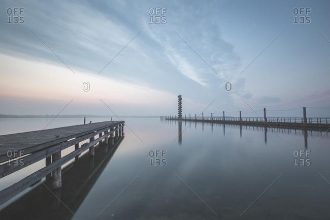 Germany- Sachsen-Anhalt- Bitterfeld- Lake Goitzsche- Gauge Tower in the morning