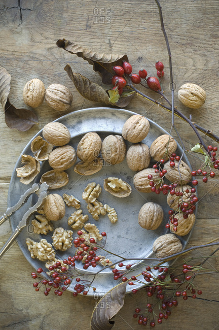 Whole and cracked organic walnuts- rosehips and nutcracker on tin plate