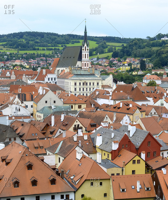 Czechia- Cesky Krumlov- view to Church St. Veit and roofscape in the foreground