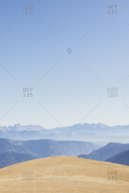 Italy- South Tyrol- Dolomites- dried pasture near Hafling in autumn