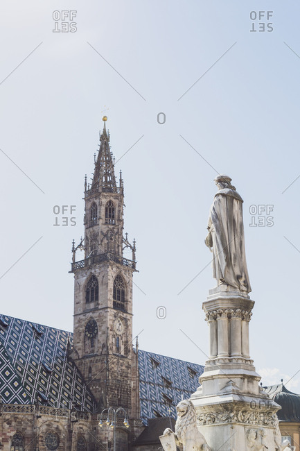 Italy- South Tyrol- Bolzano- Walther Square with monument of Walther von der Vogelweide and Bolzano cathedral